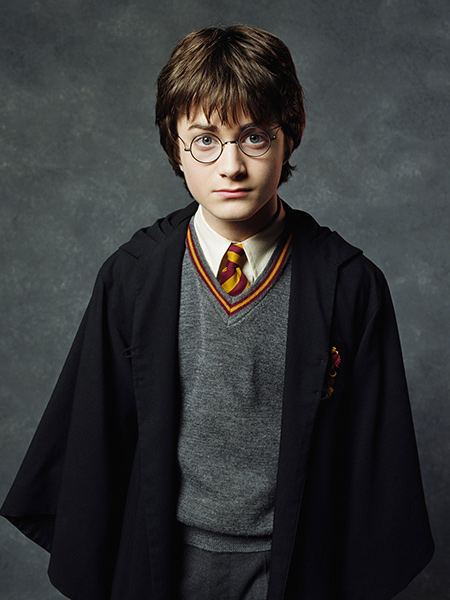 Harry Potter with his traditional Hogwarts robe