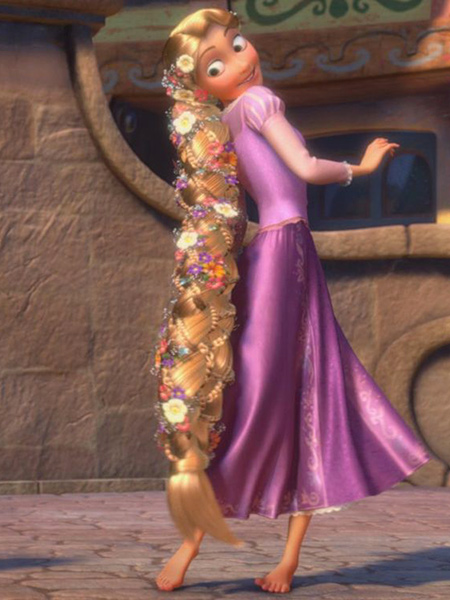 Rapunzel admiring her braided hair in Tangled
