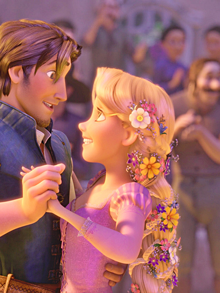 Rapunzel dancing with Flynn Rider in Tangled