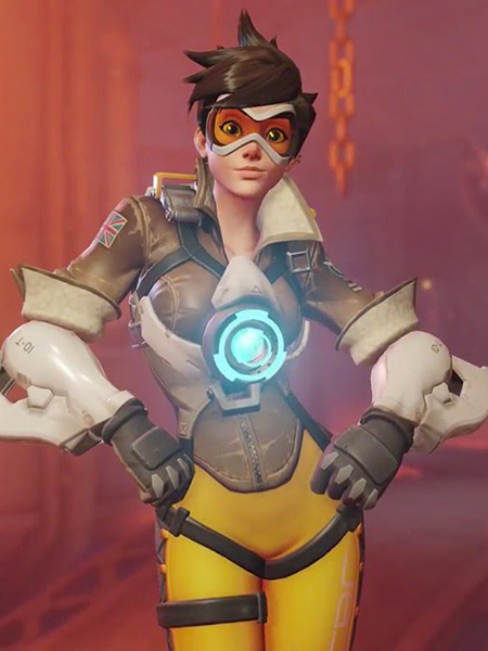 Tracer with her hands on her hips